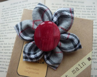 Kanzashi flower brooch black plaid, gray and red button -Christmas gift