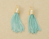 Mint Cutting Chain Tassel, Jewelry Supplies, Metal Tassel, Polished Gold Plated over Brass - 2 Pieces-[TP0038]-MINT-PG