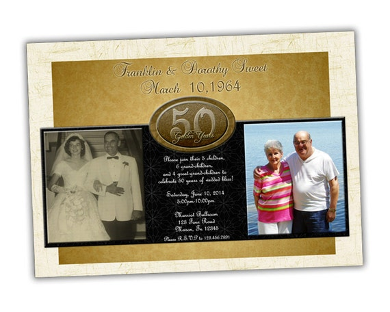 Articles similaires 50e or invitation anniversaire de for 50e anniversaire de mariage