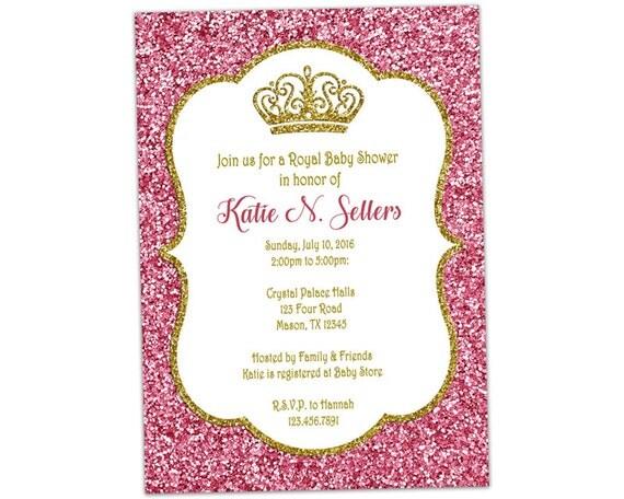 Rosa y oro Princess Baby Shower invitación poco princesa