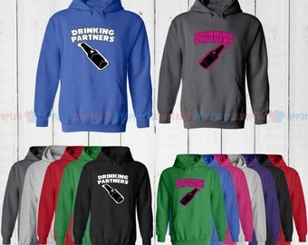 Drinking Partners - Matching Couple Hoodie - His and Her Hoodies - Love Sweaters