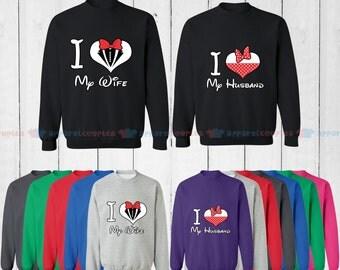 I Love My Wife & I Love My Husband - Matching Couple Sweatshirt - His and Her Sweatshirts - Love Sweaters