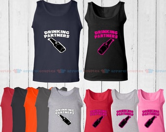 Drinking Partners - Matching Couple Tank Top - His and Her Tank Tops - Love Tank Tops