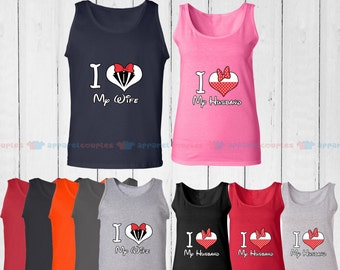 I Love My Wife & I Love My Husband - Matching Couple Tank Top - His and Her Tank Tops - Love Tank Tops