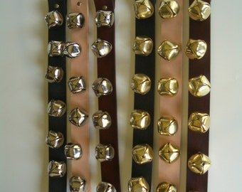 6 sleigh bells leather strap hang on door by ranch land. free shipping