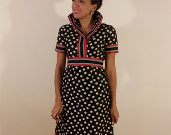 1960s Shannon Rodgers for Jerry Silverman Sailor Polka Dot Dress