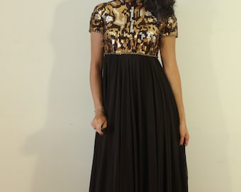 1950s Victoria Royal Ltd. Brown Sequence and Rhinestone Party Dress