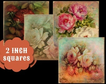 Digital Collage Sheets 2 Inch Squares of Roses
