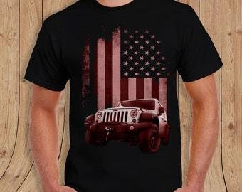 American Flag  Jeep Shirt Black- t-Shirt Mens / womens