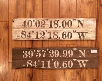 Coordinate Wood Sign, Latitude, Longitude, Hometown, Handmade, Custom, Painted, Rustic, Farmhouse Decor, Fixer Upper, Magnolia Market