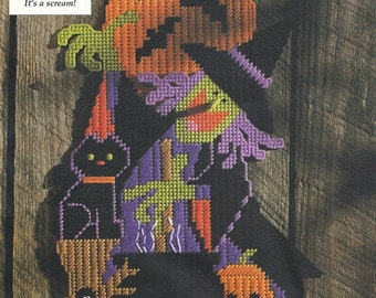 Halloween Witch Door Sign Plastic Canvas Pattern Black Cat Wall Decoration PC-028