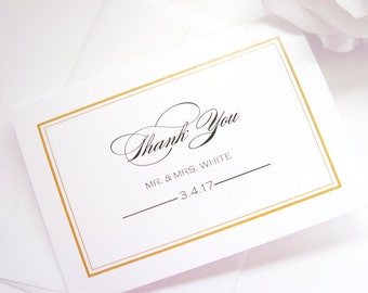 Personalized Thank You Cards, Custom Thank You Cards, Gold Thank You Card, Printed Thank You Card - DEPOSIT