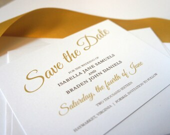 Gold Save the Date Card - Elegant Save the Dates, Gold Wedding Save the Date, Classy Save the Dates - DEPOSIT