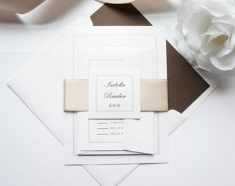 Champagne Wedding Invitation, Elegant Wedding Invitations, Luxury Wedding Invitations, Formal Wedding, Classy, Wedding Invites - Deposit