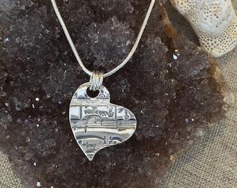 Music Fine Silver Heart Pendant