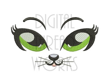 Cat Face Big Eyes Embroidery Design for 4x4, 5x7 and 8x10 inch hoops. Instant Download Pretty Kitty with green eyes.