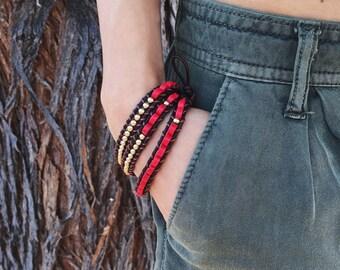 Beaded bracelet - wrap bracelet - triple wrap bracelet - coral bracelet - gemstone beaded bracelet - boho bracelet