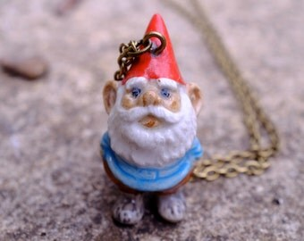 Garden Gnome Ceramic Necklace