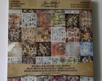 Tim Holtz, Idea-ology, Seasonal, 8 x 8 Paper Stash, 36 Sheets, Scrapbooking Paper, Double Sided Paper, Halloween Paper, Christmas Paper