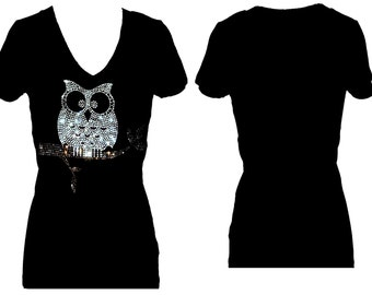 Owl  Rhinestone Bling  V Neck Short Sleeve Womens Tee Shirt