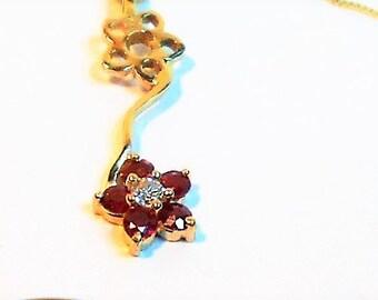 14k Diamond Necklace, Ruby Necklace, Diamond Necklace