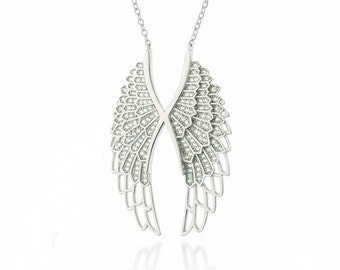 All Sterling Silver Angel Wing necklace, Angel Wing Necklace, Sterling Silver Angel Necklace, Silver Wing Necklace, Gift, bridal jewelry