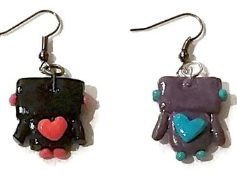 Cute Clay Robot Earrings - Robot Jewelry - Polymer Clay Jewelry - Polymer Clay Earrings - Dangle Earrings - Cute Hook Earrings -Odd Earrings