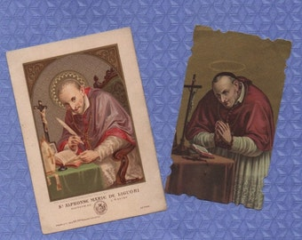 St ALPHONSUS MARIA de LIGUORI Doctor of the Church and Redemptorist Founder 2 vintage goldprint holy cards *Free post to Uk/Eire included*