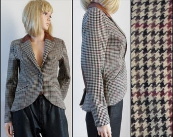 Womans brown plaid check jacket womans hacking riding jacket size us6 eur36 small