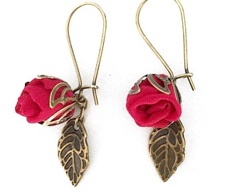 Handmade fabric rosebud Earrings Red