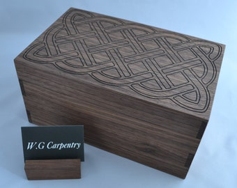 Walnut jewellery box with engraving