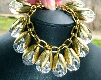 Stunning ART NOUVEAU style cut glass & leaf charm bracelet ~vintage costume jewelry