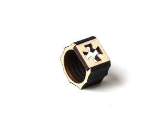 Modern laser cut wooden men's ring - model 5/1