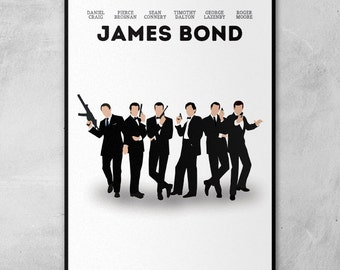 James Bond | Daniel Craig | Sean Connery | Pierce Brosnan Golden | Roger Moore | Minimal Artwork Poster