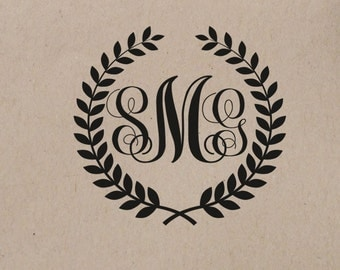 Wedding  Stamp  Monogram Custom Personalized Wedding Stamp  Rubber Stamp Self Inking Stamp