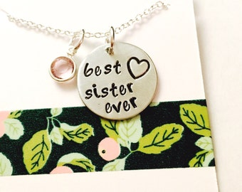 Sister Necklace, Best Sister Ever Necklace. Family Necklace Hand Stamped Personalized Necklace, Custom Sister Necklace