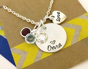 Oma Birthstone Necklace, Grandma Necklace, Grandma Gift Grandma Heart Necklace with Birthstones