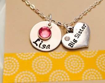 Big Sister Necklace, Big Sister Jewelry, Sibling Jewelry, Name Necklace, Personalized Sister Necklace