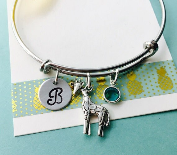 Giraffe Charm Bracelet: Giraffe Bracelet Giraffe Jewelry Adjustable Bracelet