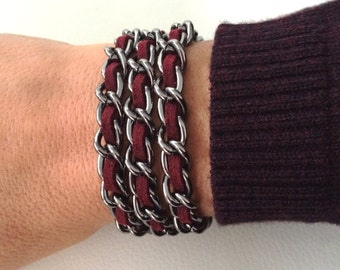 Gunmetal chain weave bracelet in burgundy, black, grey, purple, fuchsia or olive green, chain weave necklace, gunmetal chain