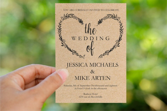 Heart Wedding Invitations Uk: Wedding Invitation Template Heart Wreath Wedding Invite