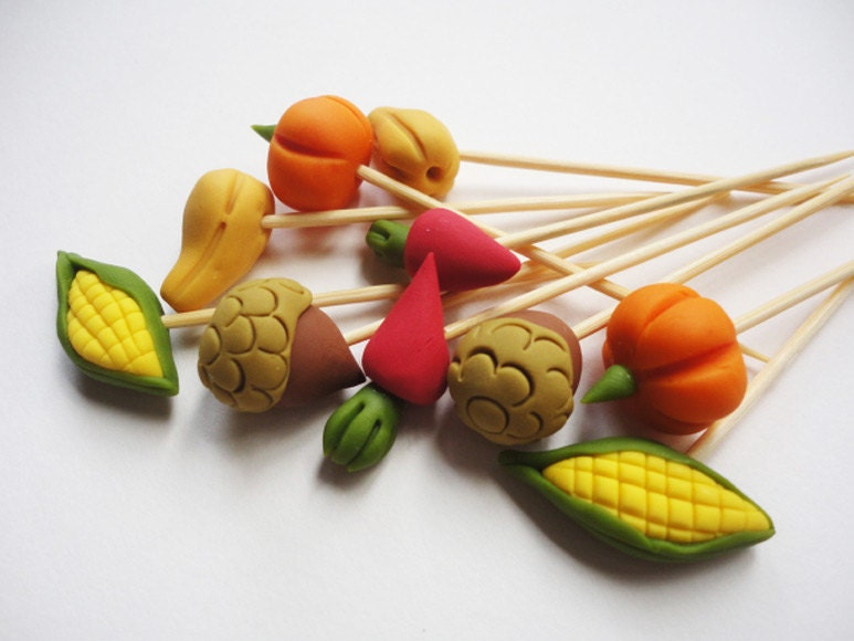 Autumn crops toothpick cake topper plant stake skewers for Some canape picks