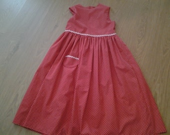 Lovely Girls Vintage Style Handmade Polka Dot Dress Age 8