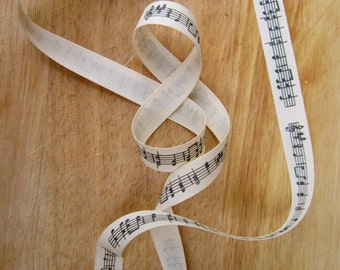 Music note grosgrain craft ribbon, per metre - sewing, nedlecraft, cardmaking, gifts