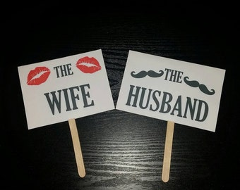 Wedding Photo Booth Props- Small The Wife and The Husband Props - WEDDING props PHOTO BOOTH props paper party