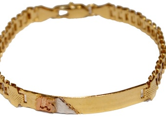 Quine - Sweet Fifteen Three Tone 18k Gold Plated  Bracelet 7 inch Women Bracelet - Tag Bracelet