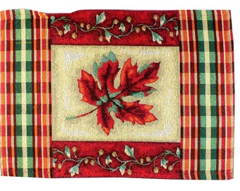 """RED LEAF Woven Fabric Placemats 18""""X12"""" Halloween Thanksgiving Fall Decor"""