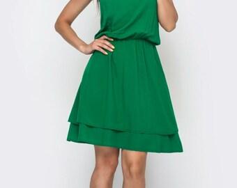 Summer Sleeveless green simple dress Staple easy everyday dress City Beach dress  knees  Double skirt