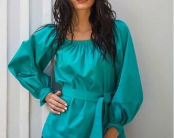 Cotton blouse  Autumn Spring woman blouse Office Turquoise blouse Elegant blouse