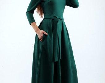 Maxi dress woman Warm winter dress Dress with belt long sleeves Long dress occasion Dark green long dress